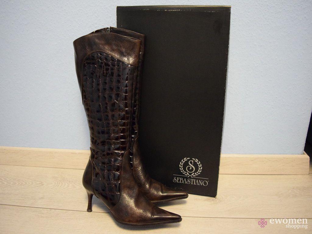 Sebastiano 37-es barna bőr lakk csizma - eWomen Shopping 9295381263